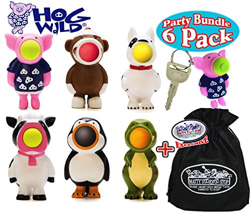 Hog Wild Keychain Poppers (Series 1) Pig, Dog, Sock Monkey, Cow, Penguin & Dinosaur Party Set Bundle with Exclusive