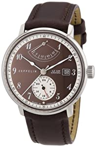 Zeppelin Men's Automatic Watch with Brown Dial Analogue Display and Brown Leather Strap 70605