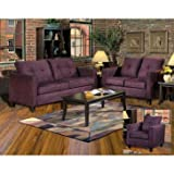 Chelsea Home Heather 3 Piece Living Room Set in Bulldozer Eggplant