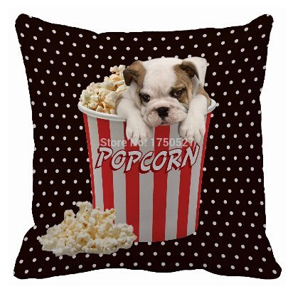 Alexander Popular White Dot Cute Bulldog In Popcorn Bucket Luxury Print Home Decorative Throw Pillowcase Zippered Square 20x20inch (Pottery Barn Bulldog Pillow compare prices)
