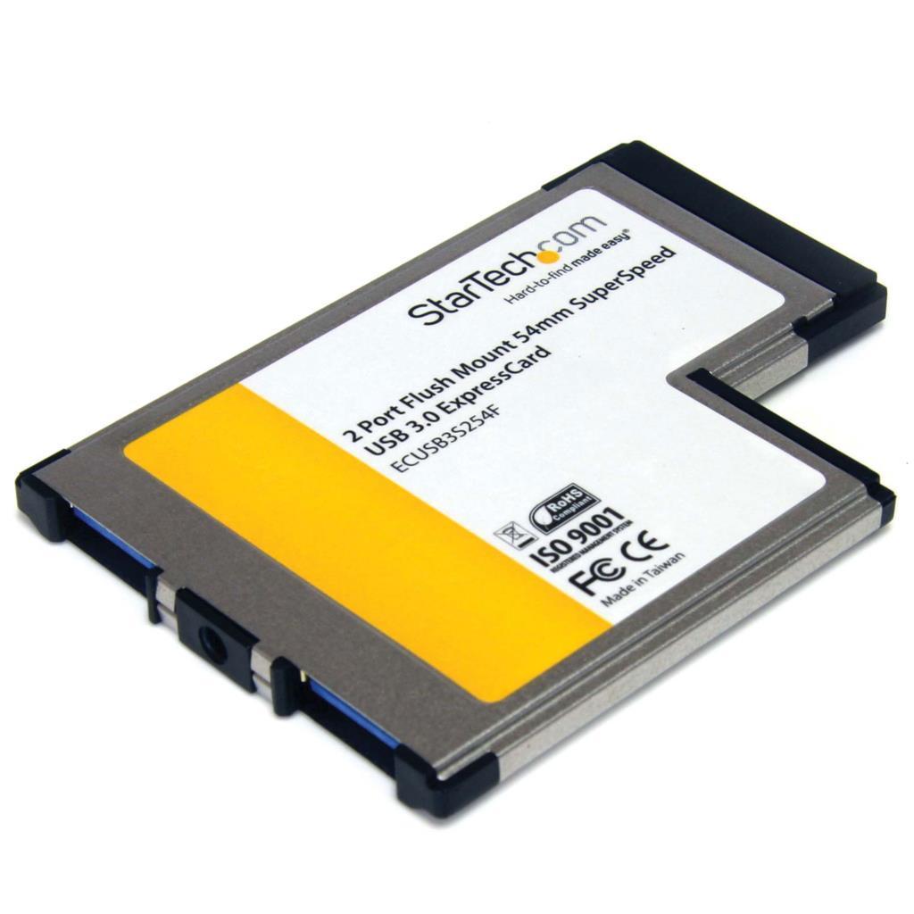 StarTech.com 2-Port Flush Mount ExpressCard 54mm SuperSpeed USB 3.0
