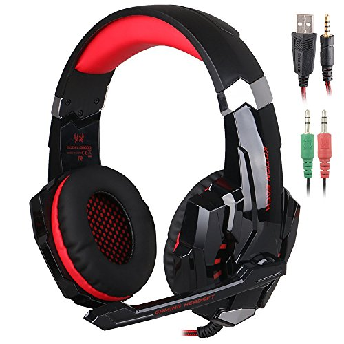 KOTION EACH G9000 3.5mm Game Gaming Headphone Headset Earphone Headband with Microphone LED Light for Laptop Tablet Mobile Phones PS4 by Senhai- Black and Red (Mobile Gaming Earbuds compare prices)