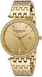Stuhrling Original Women's 579.03 Soiree Swiss Quartz Date Gold-Tone Stainless Steel Swarovski Crystals Watch