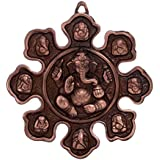 ECraftIndia 9 Variants Of Lord Ganesha Metal Wall Hanging (22.5 Cm X 1.25 Cm X 22.5 Cm, Brown)
