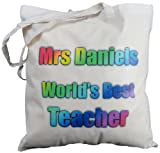 Personalised -World's Best Teacher rainbow design - Natural Cotton Shoulder Bag - Gift