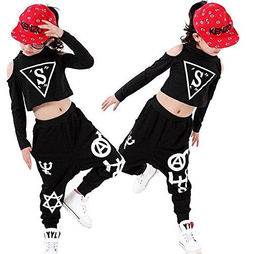 e-supporttm-schwarz-madchen-modern-jazz-tanzkleidung-top-pants-kinder-hip-hop-tanzen-kostumiert