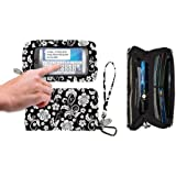 Charm 14 Large Touchscreen Wristlet/Wallet Cell Phone Carrying Case - Retail Packaging - Clarissa Black