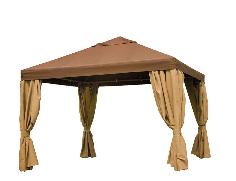 Siena Garden 821587 Pavillon Toronto, 350 x 350 cm, Gestell champagner, Dachbezug mocca, Seitenteile natur jetzt bestellen