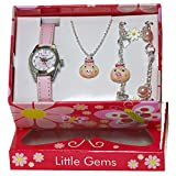Ravel Ravel 'Little Gemz' Piggy Pig Jewellery Set. Girl's Quartz Watch with White Dial Analogue Display and Pink Plastic Strap R2222