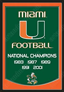Dynasty Banner Of Miami Hurricanes With Team Color Double Matting-Framed Awesome... by Art and More, Davenport, IA