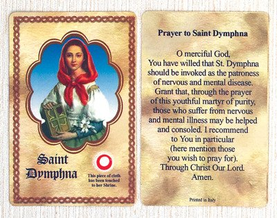 Saint/St. Dymphna Relic Holy Card Patron Emotional Illness Made In Italy