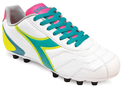 Diadora Women's Capitano Lt Md Pu Soccer Cleats,White,7.5 M