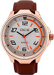 """Dice """"Rose Gold B 6108"""" Casual Round Shaped Wrist Watch For Men. Fitted with Beautiful White Color Dial, Attractive Case and Anti Allergic Leather Strap."""
