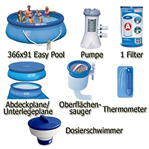 Easy Pool Set I 366 x 91 cm inkl. Zubeh (366 x 91 cm, blau)