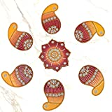 999Store Handmade Multicolour Wooden Rangoli Diwali Decorative Item, Home Décor Brown Yellow