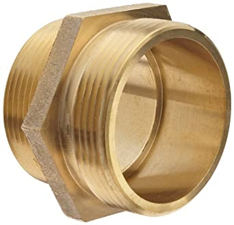 "Moon 358-2562521 Brass Fire Hose Adapter, Nipple, 2-1/2"" NPT Male x 2-1/2"" NH Male"