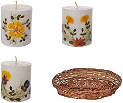 Auroshikha Cylindrical Perfumed Candles with Assorted Fragrances in Basket- Pack of 3