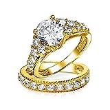 [ブリング・ジュエリー] Bling Jewelry 3.5ct CZ (キュービックジルコニア)婚約指輪 結婚指輪 セット 金鍍金 ゴールド 金 スターリング シルバー 925 リング 指輪 [インポート]