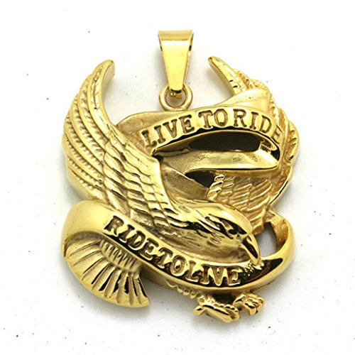 Golden Eagle Motorcycle Stainless Steel 18k Pendant