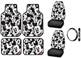Mickey Mouse Classic Expressions Faces Front & Rear Car Truck SUV Seat Rubber Floor Mats & Universal-fit Bucket Seat Covers & Steering Wheel Cover - 7PC