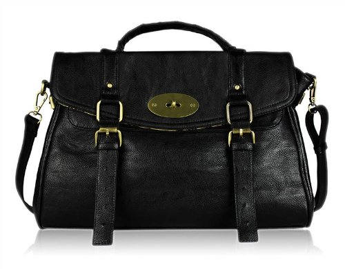 Vintage Ladies Satchel Tote Messenger Handbag Womens Shoulder Bag Black