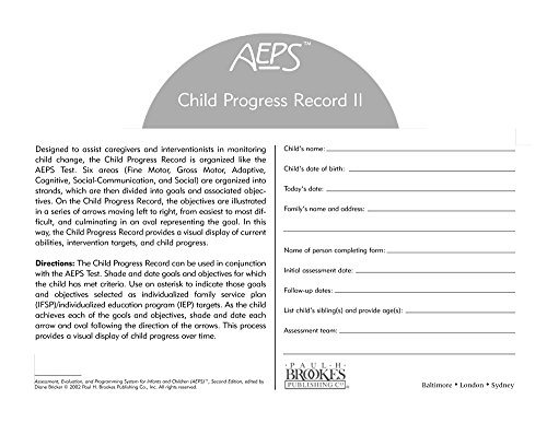 Assessment, Evaluation, and Programming System for Infants and Children (AEPS®), Second Edition, Child Progress Record