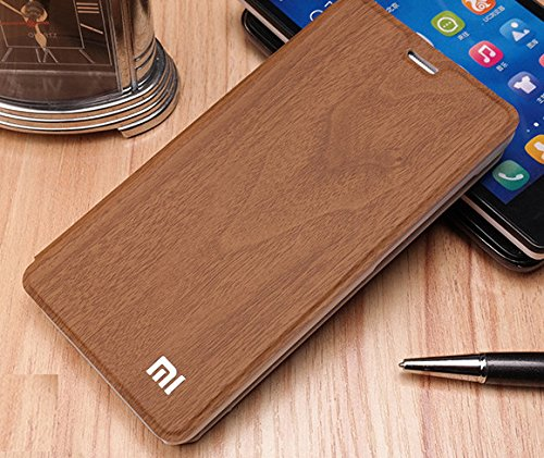 Red Spot Rain Series with Mi Logo Flip Back Cover Case For Xiaomi Redmi 2 - Gold Wood Shade