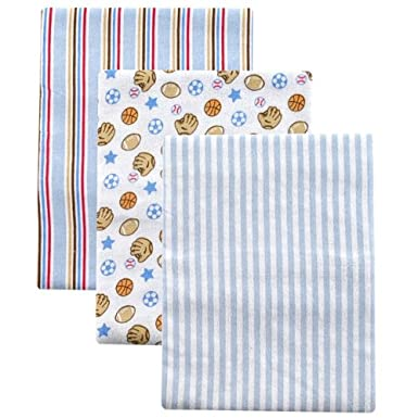 Image: Luvable Friends 3-Pack Flannel Receiving Blanket Set - made of only the softest cotton flannel for the softest touch on your baby's gentle skin.