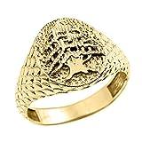 Men's Solid 14k Yellow Gold Textured Band Lebanese Cedar Tree Men's Ring