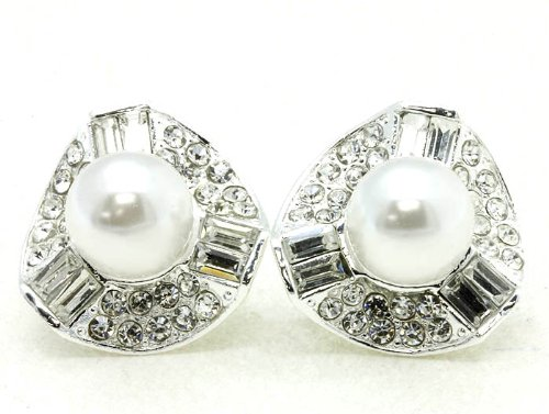 EARRING CLIP ON CRYSTAL STONE WHITE Fashion Jewelry Costume Jewelry fashion accessory Beautiful Charms