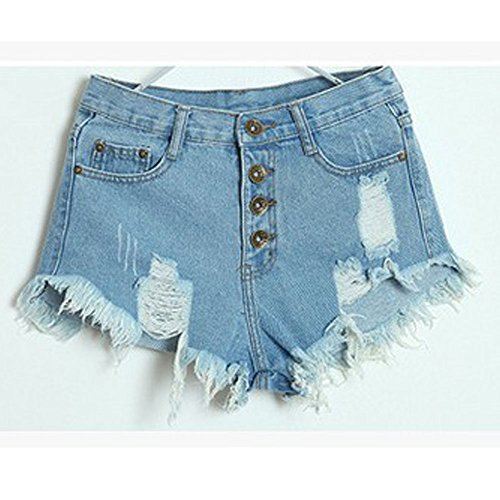 Q-COOL Lady Women's Punk Rock Vintage Grunge Hole Water Wash Retro Shorts Jeans (S, Blue) (Vintage High Waisted Jean Shorts compare prices)