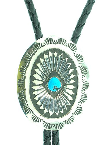 By Navajo artist: Joann Silver Beautiful! Sterling-silver Navajo Turquoise Bolo-ties with cord and Silver Tips