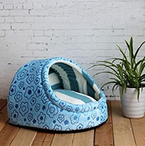 1 Pcs Hair-raising Modern Pet Half Covered Bed Size S Indoor Kennel Cat Pad Rug Puppy Tent Color Type Blue