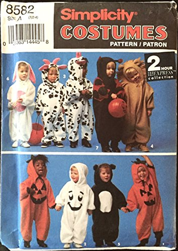 1993-Simplicity-Halloween-Costume-Sewing-Pattern-8582-BabyToddlerChildrens-Sizes-12-1-2-3-4-Bunnyrabbit-Cow-Ladybug-Lion-Pumpkin-etc-Costumes