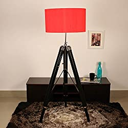 Cocovey Sheesham Wood Red Silk Cotton Shade Floor Tripod Lamp