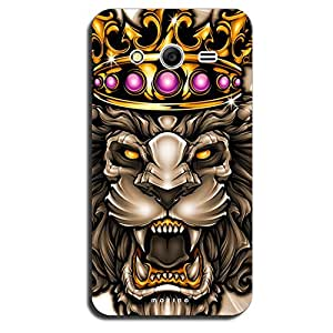 Mozine Golden Ruby Lion Printed Mobile Back Cover For Samsung Galaxy Core 2
