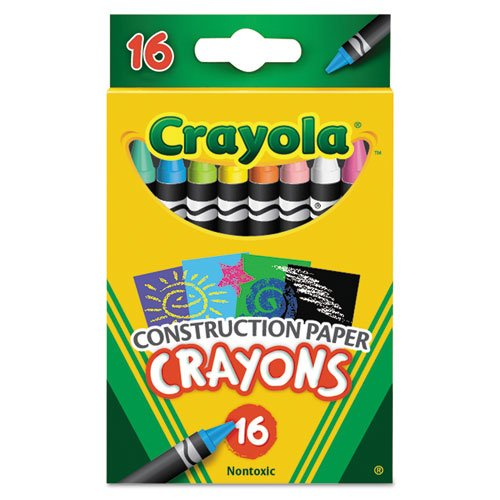Crayola Construction Paper Crayons, Wax, 16/Pk back-995918