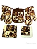 Coffee Kitchen 5 pc Linen Towel Set-Towels Oven Mitt and Pot Holder Cafe