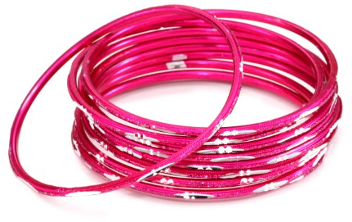 Chamak by priya kakkar Set of 10 Pink Etched Metal Bangle Bracelets