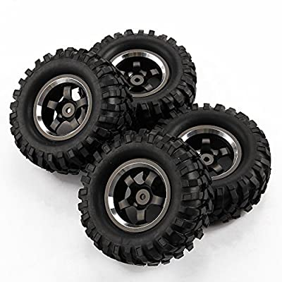 SkyQ 4pcs 96mm Climbing Car Tires Tyre and Aluminum Wheels for 1/10 Crawler Car Grey
