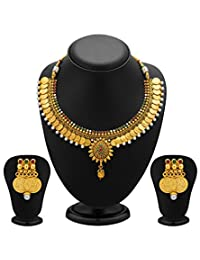 YouBella Traditional Jewellery Temple Coin Necklace Set With Earrings For Women