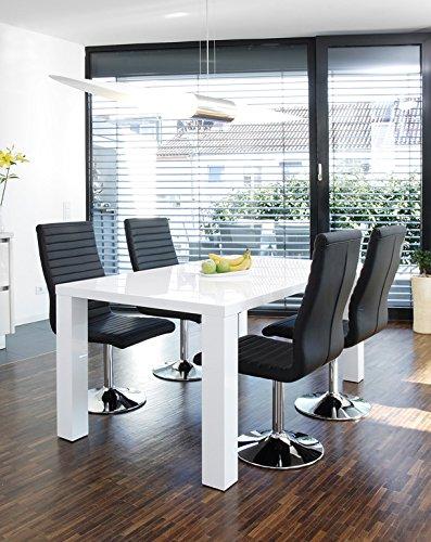 SalesFever Essgruppe Tisch 180x90 cm weiß mit 6 Stuhlen Lio aus Kunstleder Luke Stuhle schwarz