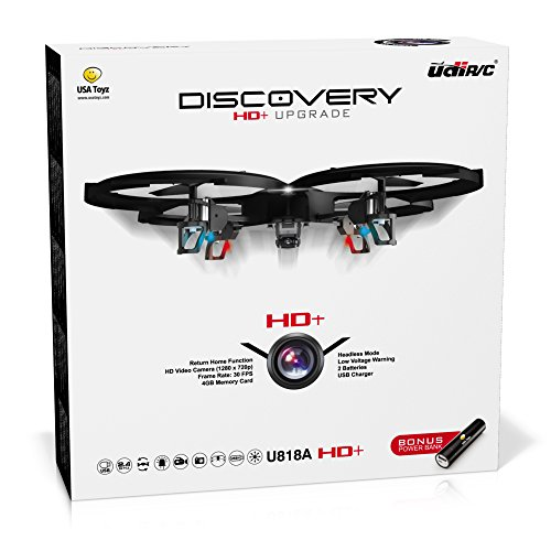 UDI-818A-HD-RC-Quadcopter-Drone-with-HD-Camera-Return-Home-Function-and-Headless-Mode-24GHz-4-CH-6-Axis-Gyro-RTF-Includes-BONUS-BATTERY-POWER-BANK-Quadruples-Flying-Time