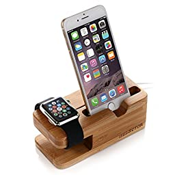 Iselector Apple Watch and iPhone Stand - Bamboo Charging Dock Station Bracket Cradle Holder for Apple Watch(38mm and 42 mm), iPhone 6 / 6 plus / 5S / 5C / 5(Charger Cable NOT Included)