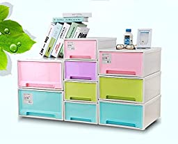 MagicMen Free Combination Drawer Cabinet Plastic Thicked Storage Cabinet StorageBox Drawer StackingLockers Containing Cabinet (L, green)