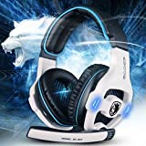 Sades SA-903 7.1 Surround Sound Effect USB High-fidelity Stereo Gaming Headsets Headphone With Mic - White
