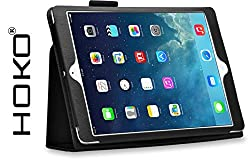iPad Air Case, HOKO Black Leather Flip Case Cover Stand with magnetic closure for Apple iPad Air (Auto wake and sleep)