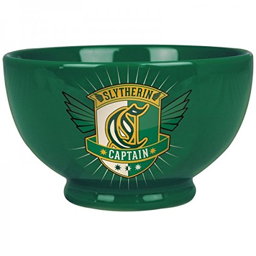 Green Stoneware Cereal or Soup Bowl - Harry Potter Slytherin House design