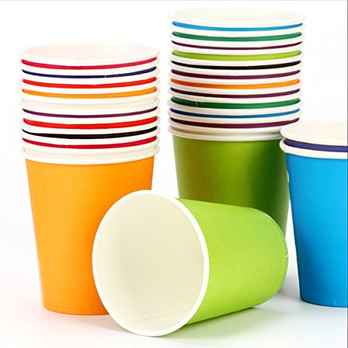 KAIL Holiday Party Disposable Cups, Paper Cups For DIY (Assorted Colors,9 Ounce,100 Count)