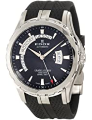 Edox Men's 83006 3 NIN Grand Ocean Automatic Black Dial Sapphire Crystal Exhibition Window Day-Date Rubber Watch